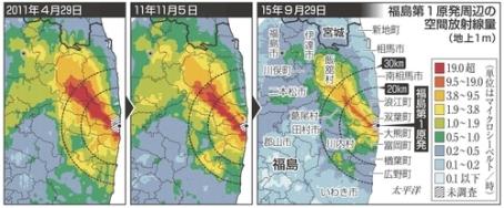 <福島第1>80km圏線量65%減