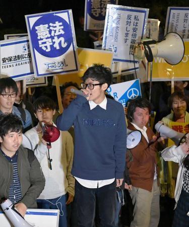 高校生ら、国会前で安保法に反対